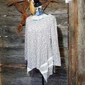 Cute gray sweater with crochet trim